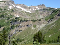 Closer view of Goat Lake Basin and waterfall