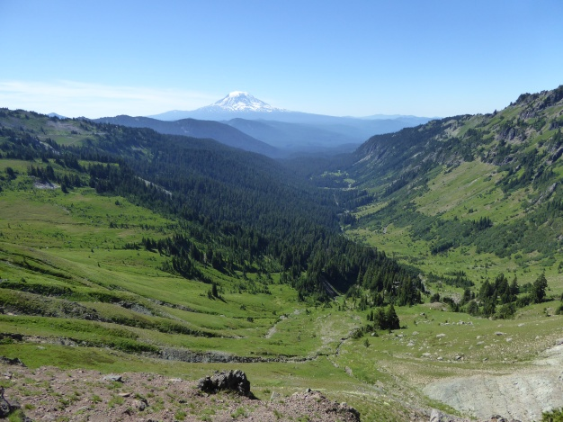 Looking from Goat Lake down the valley to Mt. Adams