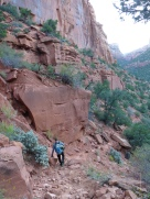 Heading down the canyon walls to get to the river