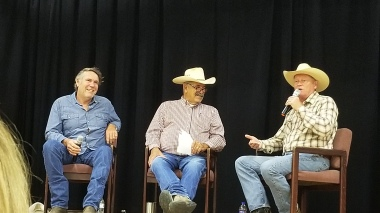 "Robert Taylor ""Walt Longmire on the left and Craig Johnson the author on the right"