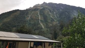 Waterfalls everywhere above Dumpling Hut