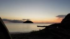Our tent on Onetahuti Beach, looking out to Tonga Island