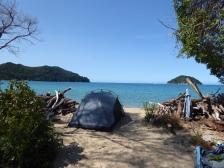 Our campsite at Onetahuti Beach