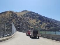 Driving across the dam